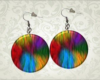 Rainbow Abstract Dangle Earrings Button1.25 inch