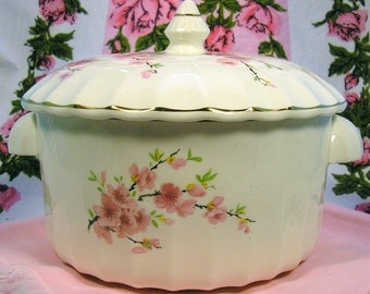 W. S. George Bolero Casserole Serving Dish w/ Lid: Peach Blossom Special