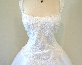 50s Wedding Dress Suzy Perette Sweetheart White Lace Corset Bust Pearl Beaded Wedding gown L
