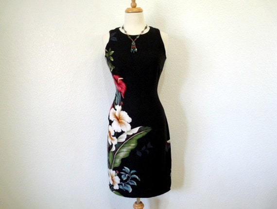 Vintage Exotic Black floral Mini dress IOLANI Hawaii Cotton Fitted Summer dress S
