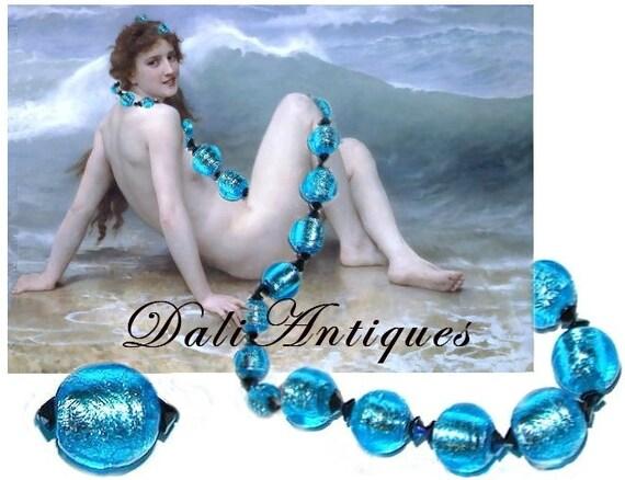 Free Shipping Art Deco Two Rows Big Heavy Necklace Unusual Silver Foil Venetian Murano Capri  Beads