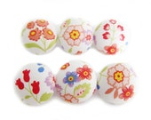 6 Small Fabric Buttons Set - Colorful Floral - Fabric Covered Buttons
