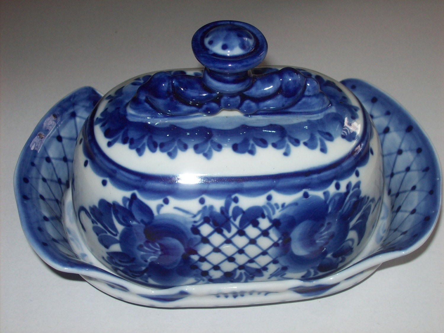 Vintage Butter Dish Plate Cover Ornate Hand Painted By