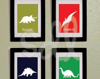Printable PDF Set of Four Dinosaur Prints 8x10