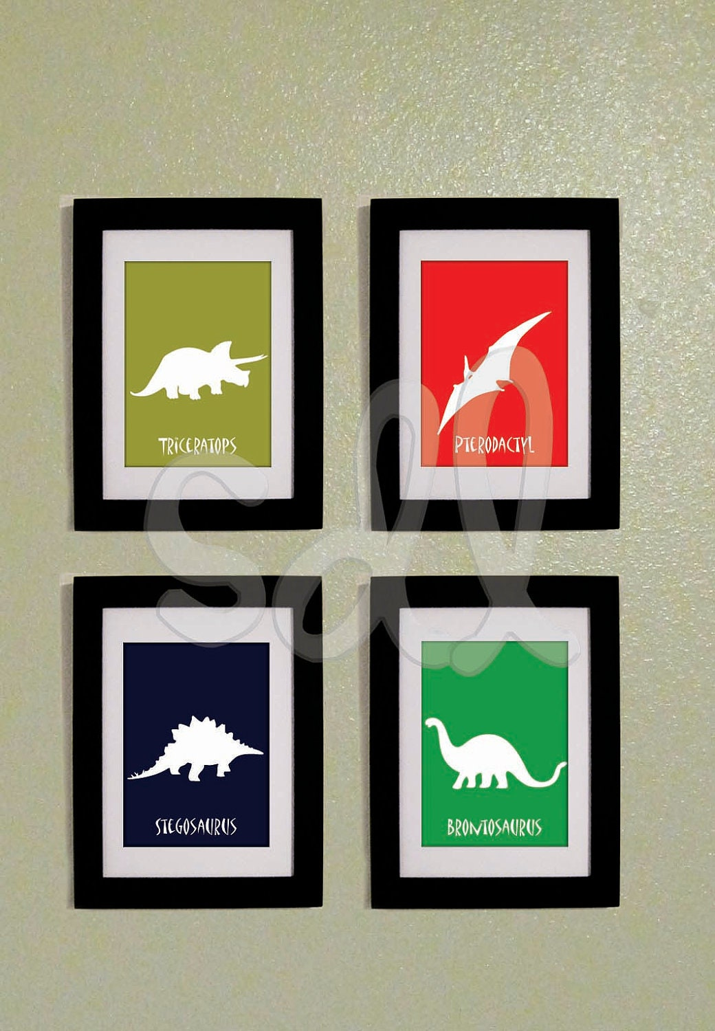 Printable pdf set of four dinosaur prints 8x10 for 8x10 bedroom furniture layout