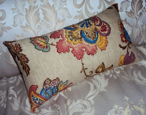 CLEARANCE - Mod Kravet Brown Multicolor Jacobean Floral Lumbar Pillow