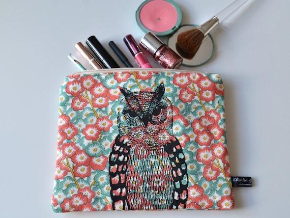 Owl illustration screen printed floral make up bag/clutch - Large