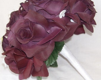 Plum Roses Silk Wedding Bridal Bouquet / Toss