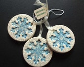 Blue crackle snowflake ceramic Christmas decorations