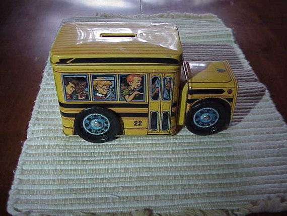 VIntage Tin   Yellow School bus Piggy  Bank