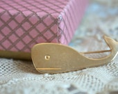 Vintage 1960s Brooch // 60s Brass Whale Brooch // NOS Jewelry