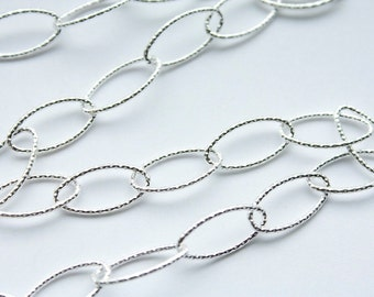 5 feet, Italian Sterling Silver 7mm x 14.5mm Textured Long Oval Chain M/RW090D