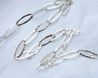 3 Feet Italian Sterling Silver Rhodium Plated Chain / Elongated Hammered Oval Links