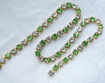 3 Feet Peridot Green and Diamond Swarovski Crystal and Brass Rhinestone Chain, 4mm