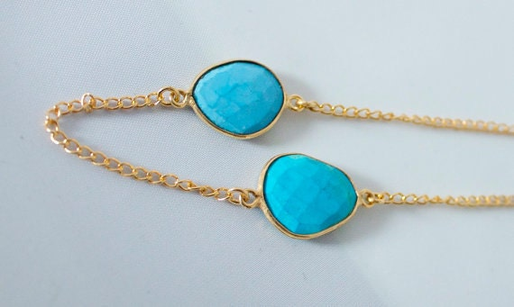 Turquoise and Gold Vermeil hand made Bezel Gemstone Chain, 1 foot