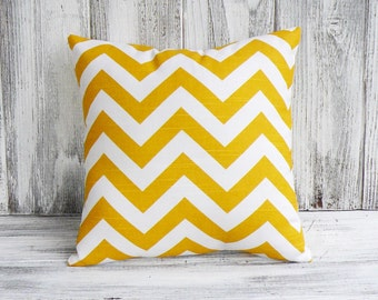 Chevron pillow in yellow and white zigzag stripes - stuffed  throw cushion, trendy fashion for home decor