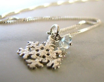 Snowflake Necklace, Sterling Silver Snowflake Necklace, Blue Topaz Gemstone, Snowflake Charm Necklace, December Birthstone - Let it Snow