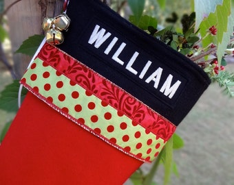 Red Christmas Stockings with Polka-Dot Personalized