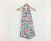 1950s Novelty Print Playsuit - 50s Matchbook Collector Romper - Cotton Halter One Piece - xxs / xs