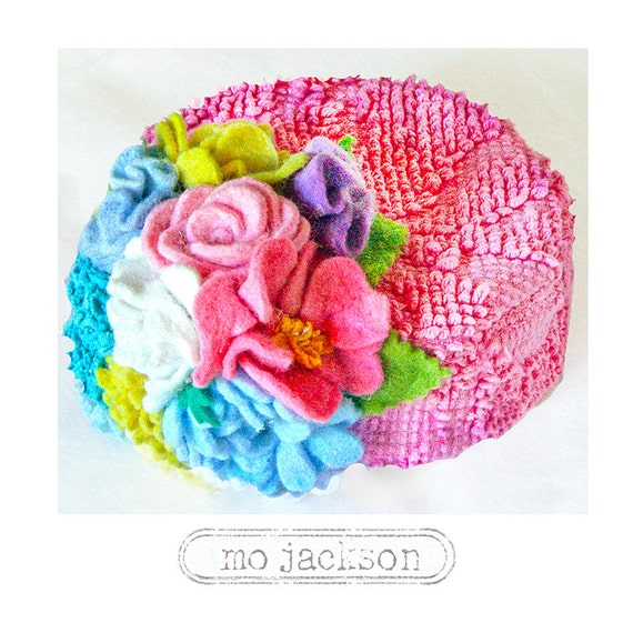 la-tee-da baby chapeau / vintage chenille pillbox hat with handmade bouquet