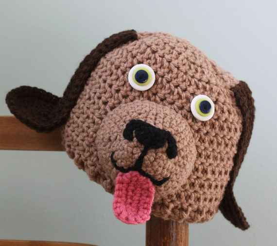 Puppy Love Hat, Dog Hat, Funny Hat, Crochet Beanie, Halloween Costume, Puppy Hat, Accessories, Boy's Clothing, Girl's Clothing