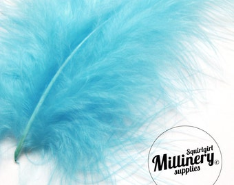 20 Turquoise Blue Fluffy Marabou Feathers for Millinery Hat Trimming & Crafts