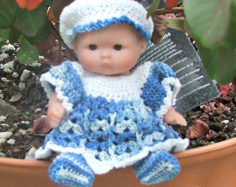 """Blue dress outfit fits 5"""" Berenguer doll"""
