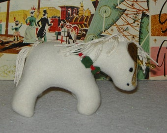 Sweet Vintage Dakin Stuffed Unicorn Christmas Ornament