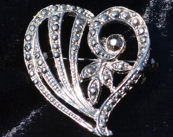 Vintage Openwork Silver Heart Brooch