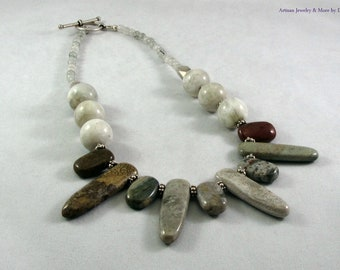 Jasper and Botswana Agates on a Sterling Silver Chain