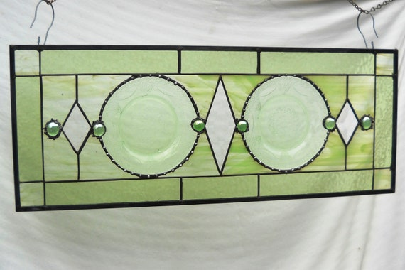 Stained Glass Panel Valance with 1930s Depression Glass Federal Glass Georgian Plates
