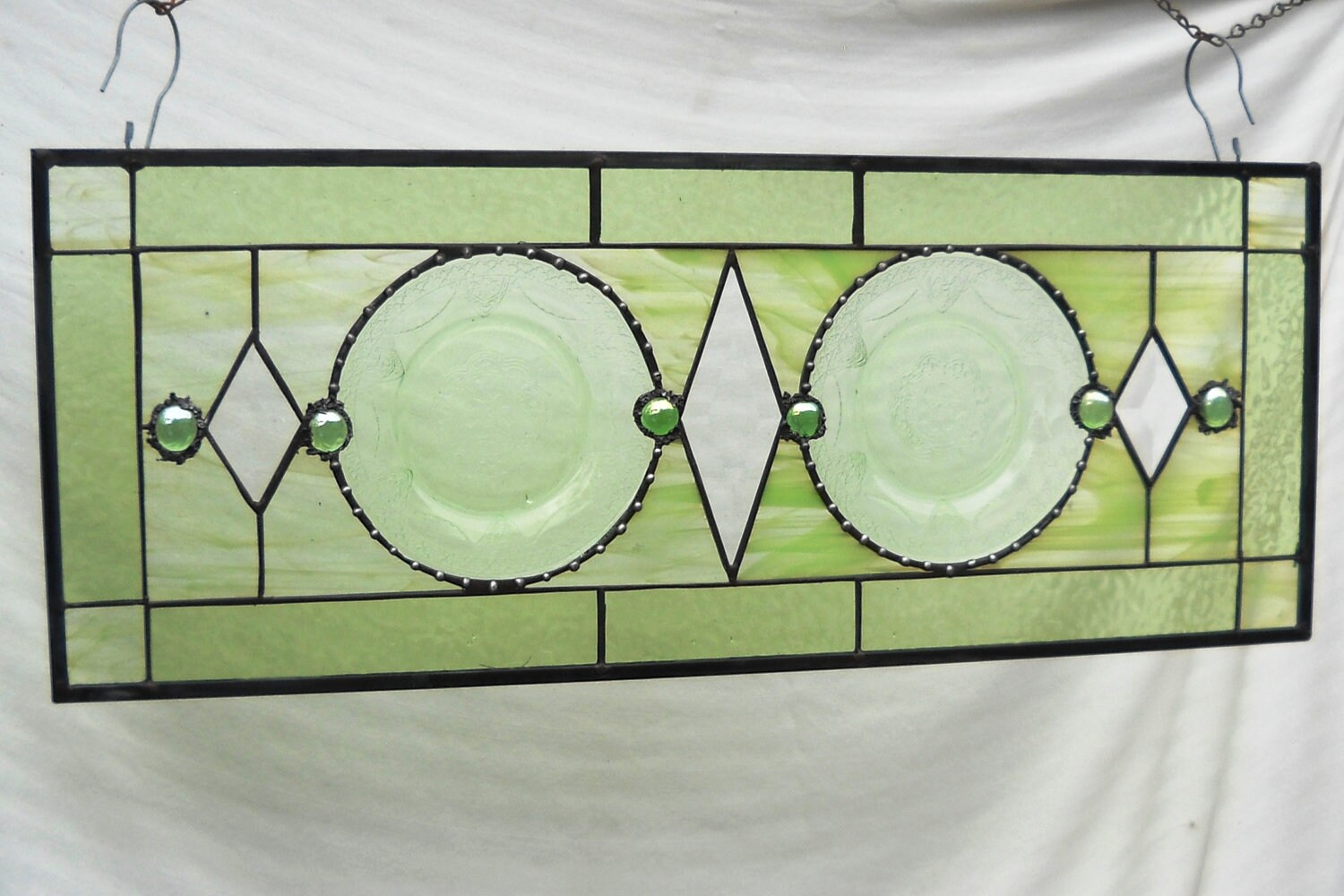 Stained Glass Panel Valance With 1930s Depression Glass