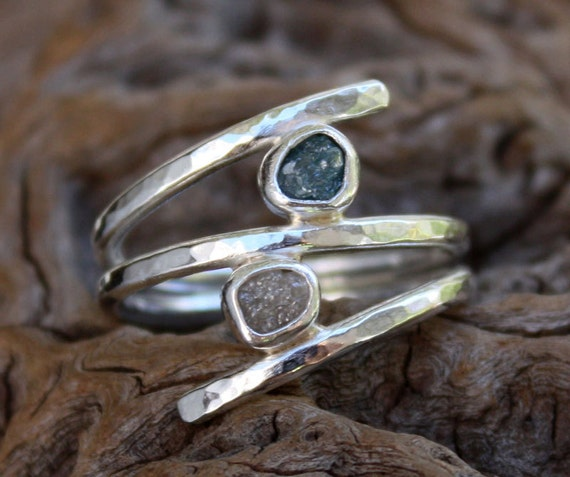 Blue and white rough diamond ring