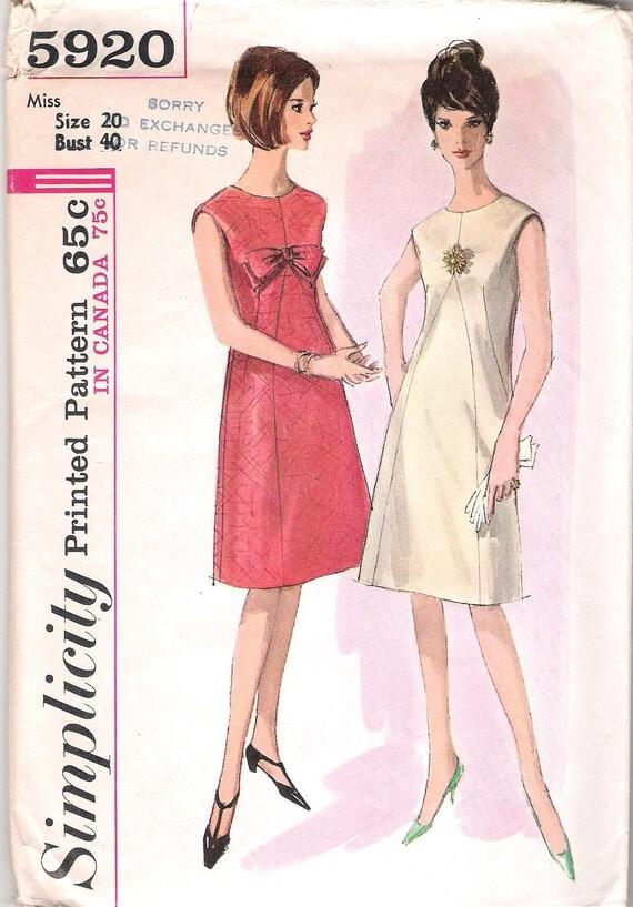 Vintage 60s A Line Dress Pattern Large Plus Size Simplicity 5920 40 bust size 20