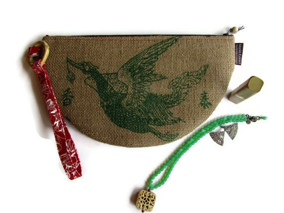 Reycled Burlap Rice Bag. Half Moon Clutch with Alfred Shaheen Vintage Hand Print - Geisha. Handmade in Hawaii. Ready to Ship.