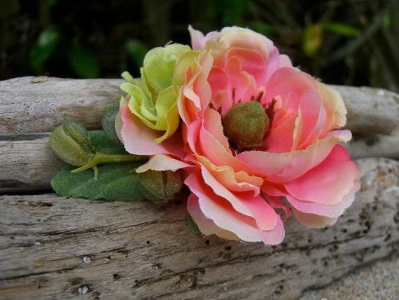 Floral Hair Clip-PINK FLAMBE-Woodland Rustic Wedding, Bridal Hair Fascinator, Shabby Chic, Fall Weddings, Flower Hair Clip, Country Weddings