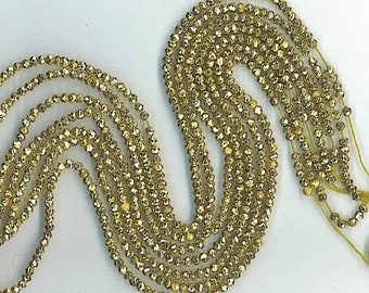 """13"""" Strand 4mm Faceted Gold Coated Pyrite Rondelles"""