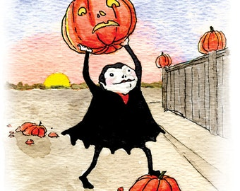 Halloween Cards - Mischievous Vampire Trick or Treater - Set of 5 greeting cards
