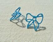 Blue Ribbon / Bow Earring