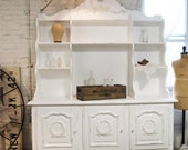 RESERVE for TERRY Painted Cottage Romantic Shabby White Vintage French China Cabinet CC363