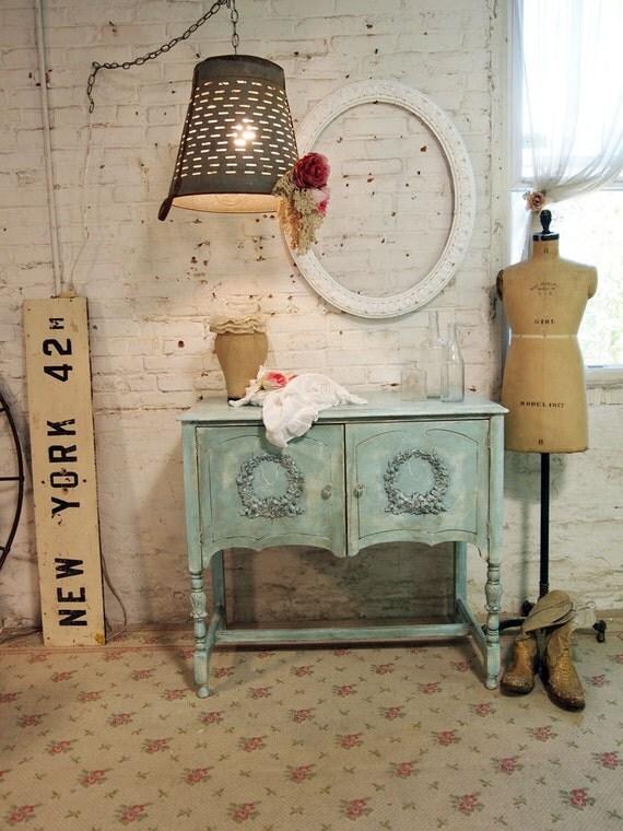 Painted Cottage Chic Shabby Romantic Aqua Server / Buffet