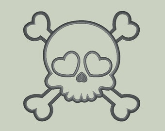 Sweet Girl Skull (add your own decor) Applique Design