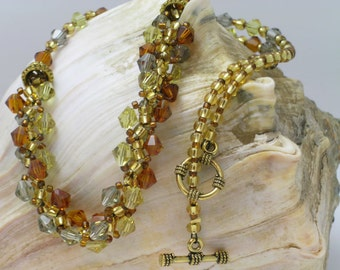Amber, Grey and Yellow Woven Necklace