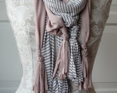 TASSEL scarf set by FAIRYTALE13 grey stripe and antique pink.