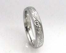 Hand Engraved Vine and Leaf  with Milgrain Edge Wedding Anniversary Engagement 4mm Band in 14k White Gold Made to Order