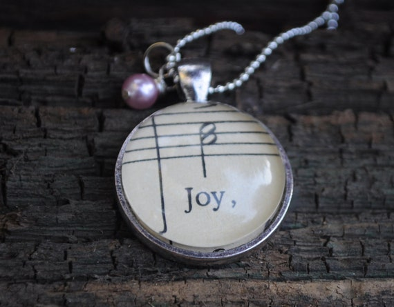 Music Note Necklace from Vintage Sheet Music JOY