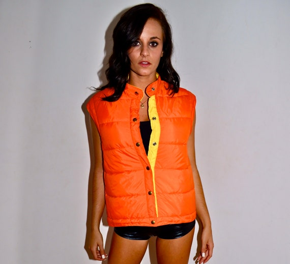 Make an Offer BLAZE ORANGE and Yellow 1980s Vintage Puffy Insulated  Ski VEST Mens Small S Fits like Ladies Medium Like Moncler