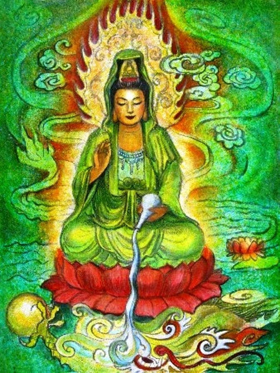 Goddess Kuan Yin Poster Print spiritual art Water Dragon Zen Buddhist Buddhism Buddha meditation