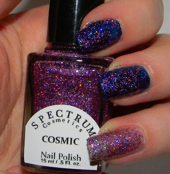 Pink And Blue Glitter Nail Polish: PINK Holographic Glitter Nail Polish COSMIC By