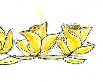 Yellow Roses 5 x 7 Greeting Card with Matching Envelope